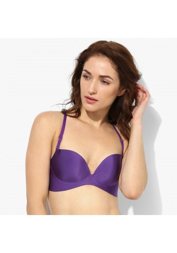 Ultra Soft Seamless Criss-Cross Back Push Up Bra- Purple